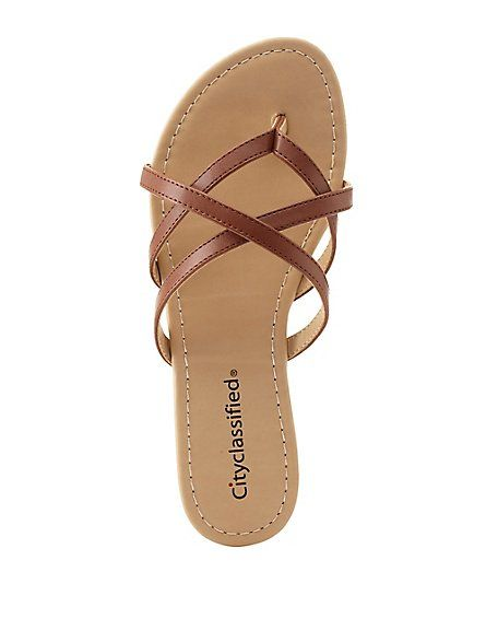 56a585ea7044cb City Classified Crisscross Strappy Thong Sandals