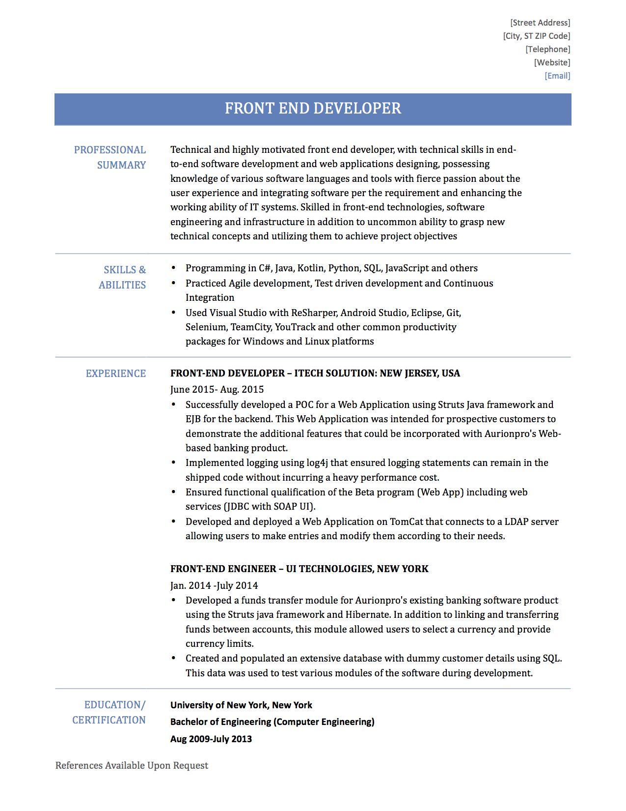 resume front end developer objectivejob sample designer home - User Interface Developer Resume
