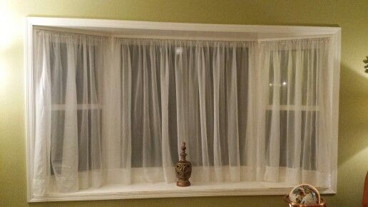 Bay Window Idea Tension Rods White Sheers Easy And Inexpensive