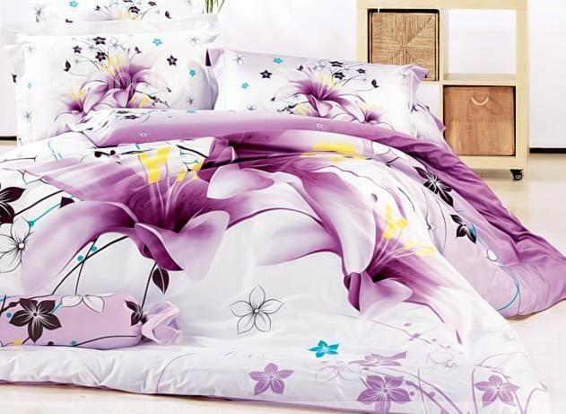 3d purple lily printed cotton 4piece full size bedding setsduvet covers