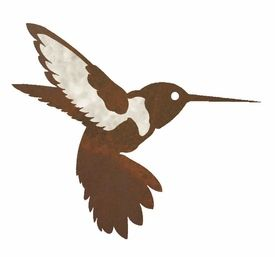 "Bird Metal Wall Art 8"" burnished hummingbird metal wall art 