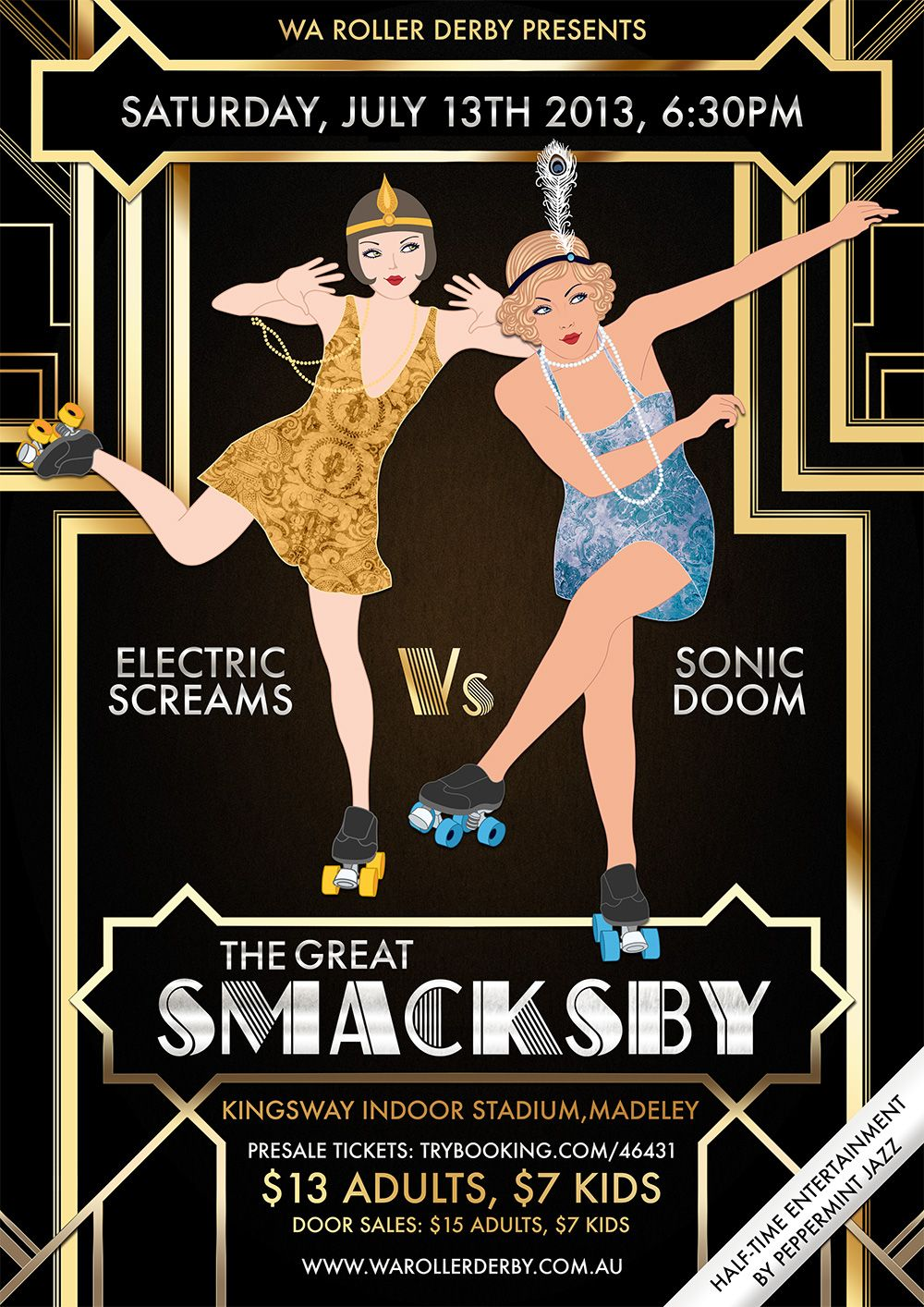Poster design 1920s - The Great Smacksby Rollerderby Poster 1920 S Gatsby Theme Design By Orla