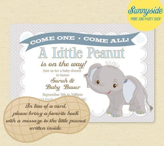 Baby Elephant Little Peanut Baby Shower Invitation Boys