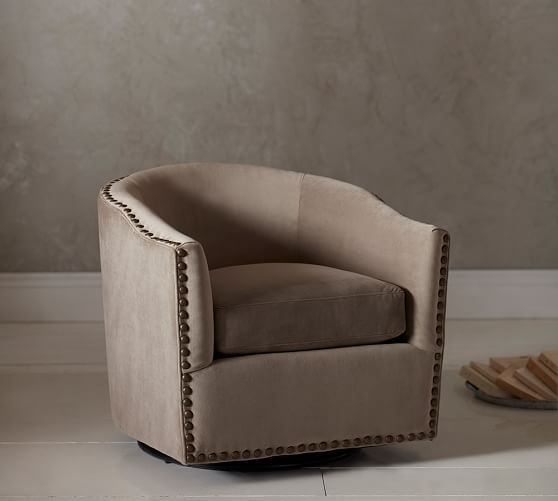 Harlow Upholstered Swivel Armchair | Swivel chair, Armchairs and Pottery