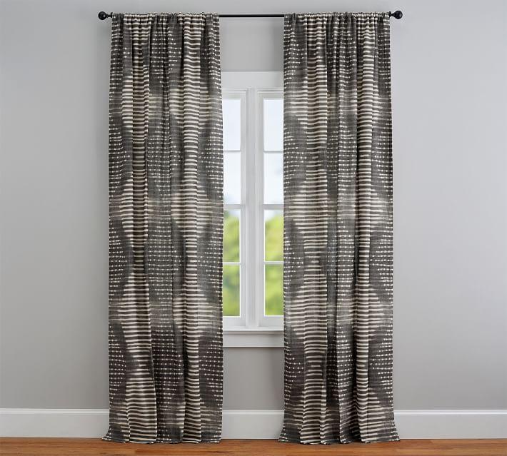 Shibori Diamond Linen Cotton Rod Pocket Curtain In 2020 Curtains Drapes Curtains Pattern Curtains Living Room