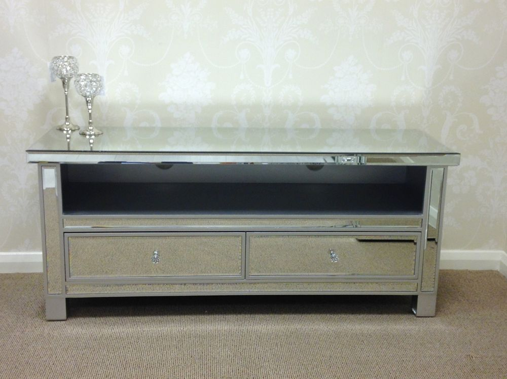 Large Silver Venetian Mirrored Glass 2 Drawer Widescreen Tv Unit