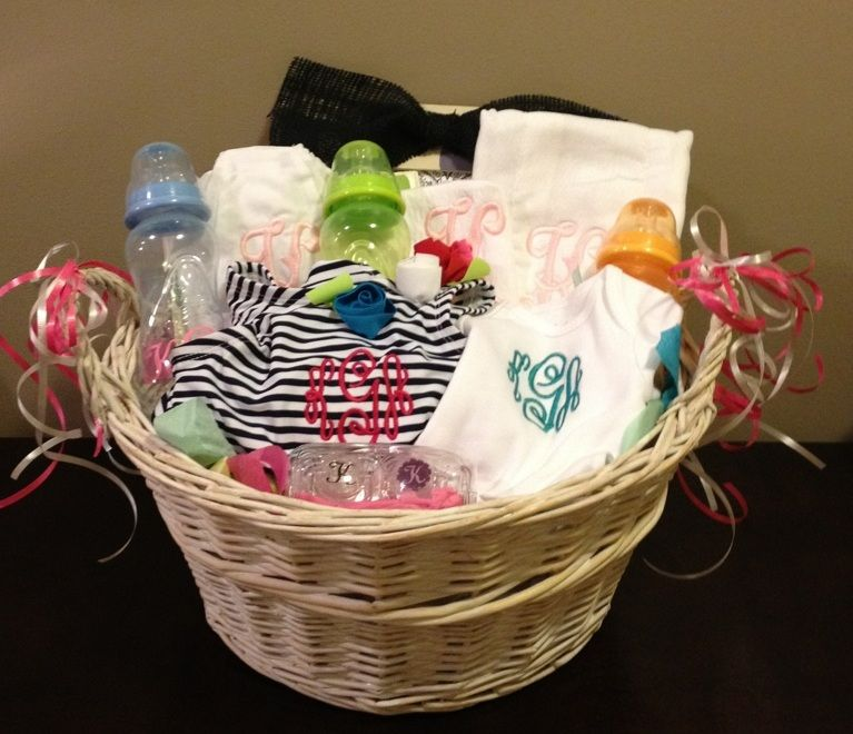 monogrammed gift basket filled with baby items for baby ...