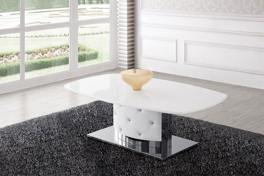 Table basse capitonnée blanc laqué TEMBER | Salon design ou ...