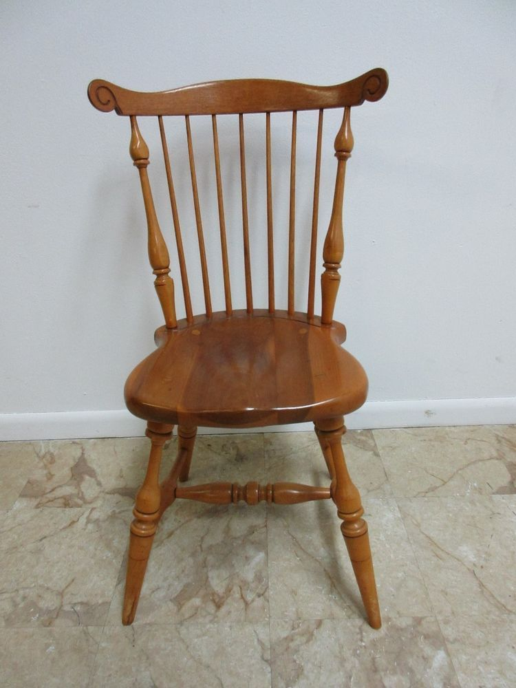 Vintage Duckloe Bros Plank Bottom Windsor Back Dining Room Desk Side Chair B