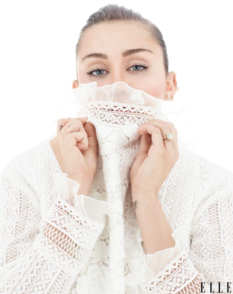 miley cyrus elle magazine 2016 | Miley Cyrus covers up in Giambattista Valli dress