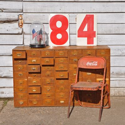 Vintage Wooden Filing Cabinet / Multi drawer unit  Approx Measurements:  Height 86 cm x