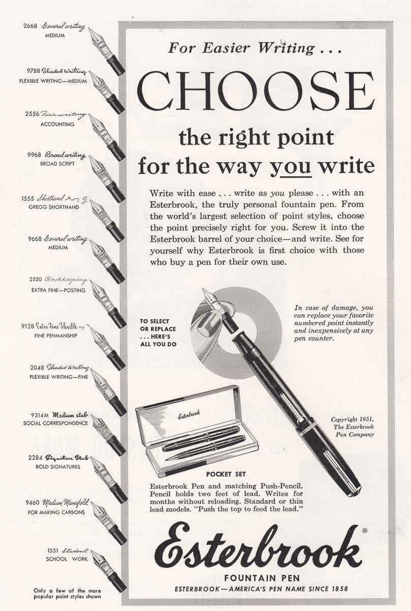 Collectibles 1951 Esterbrook Fountain Pens Points Vtg Print Ad