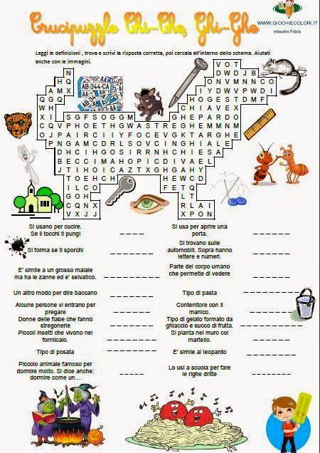 Schede didattiche per la scuola primaria giochi disegni for Cruciverba geronimo stilton