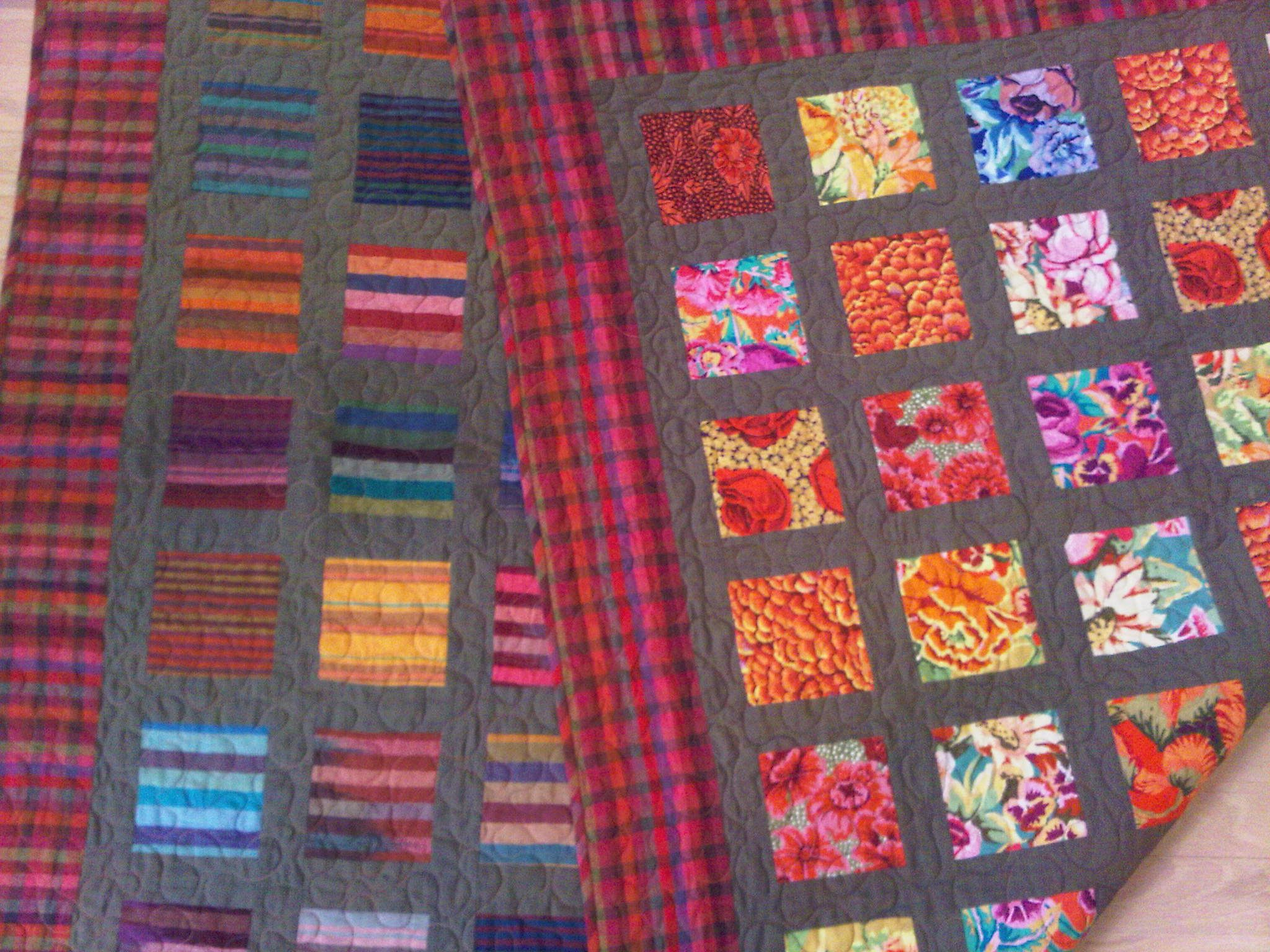 Double sided quilt with Kaffe Fassett/Philip Jacobs florals and ... : double sided quilt - Adamdwight.com