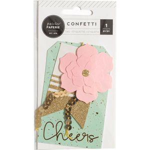 W Paper Flower Gold Foil Gold Glitter Confetti Layered Tag