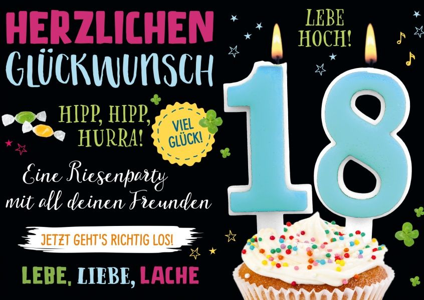 Endlich 18 Birthday Cards Happy Birthday Geburtstagskarten