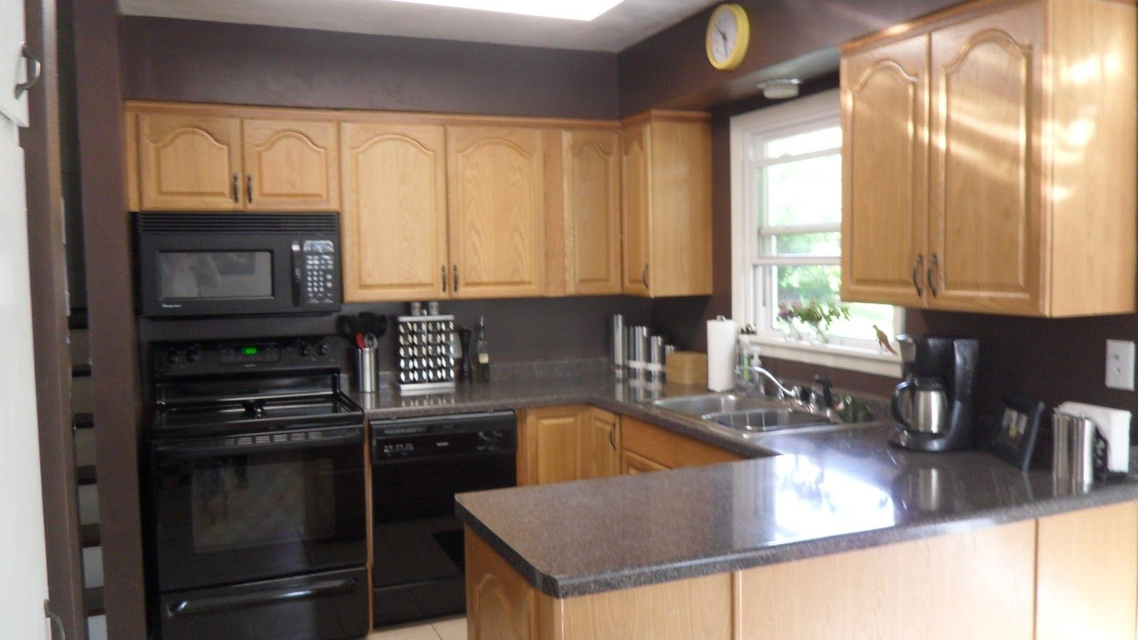 Kitchen color ideas with dark oak cabinets kitchen cabinets