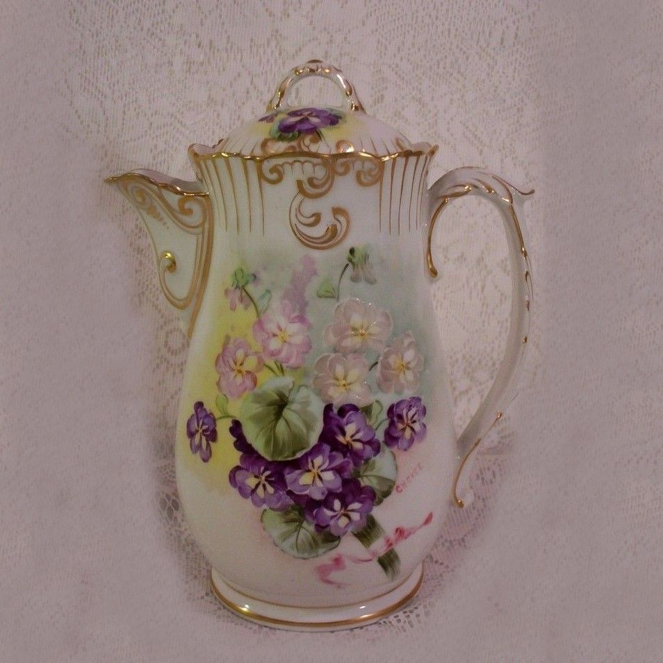 Vintage 1920s Limoges Chocolate Pot Hand Painted Violets