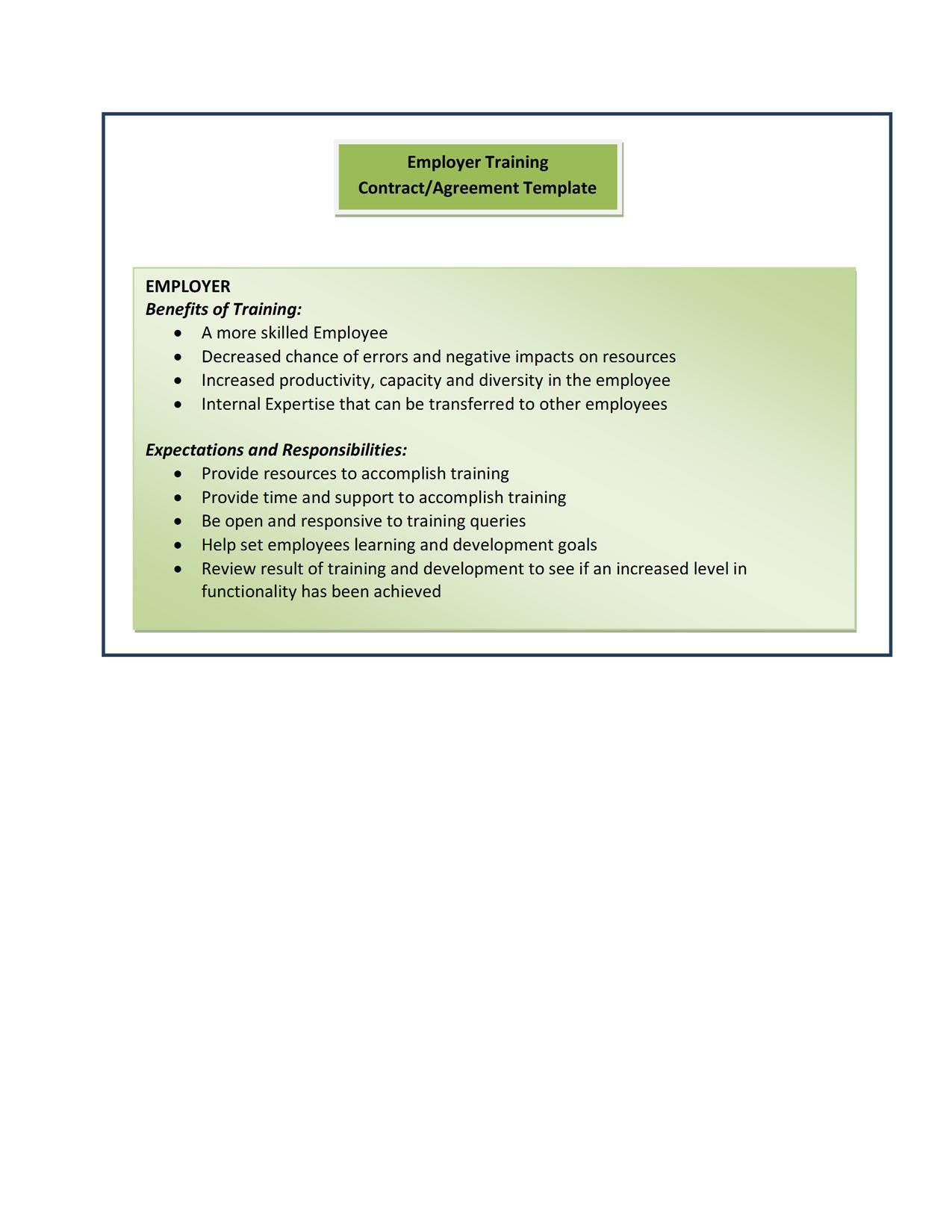 Form 10Employer Training ContractAgreement Template – Training Agreement Template