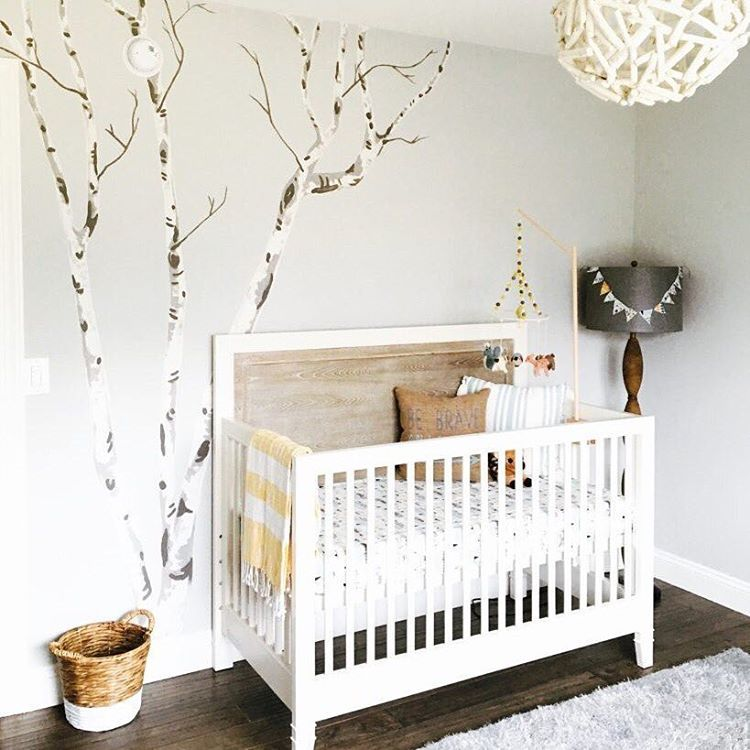 Transitional Nursery With Rustic Wood Wall: We're Calling This Rustic Chic Woodland! That Hand-painted