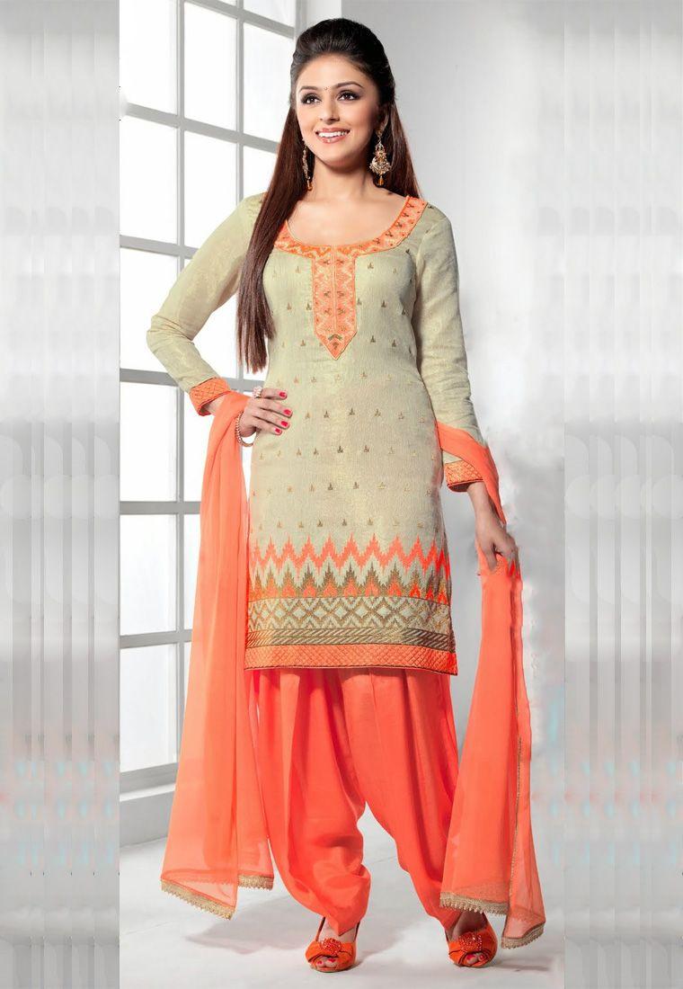 9ac3330a9be Peach Color Chanderi Designer Salwar Kameez