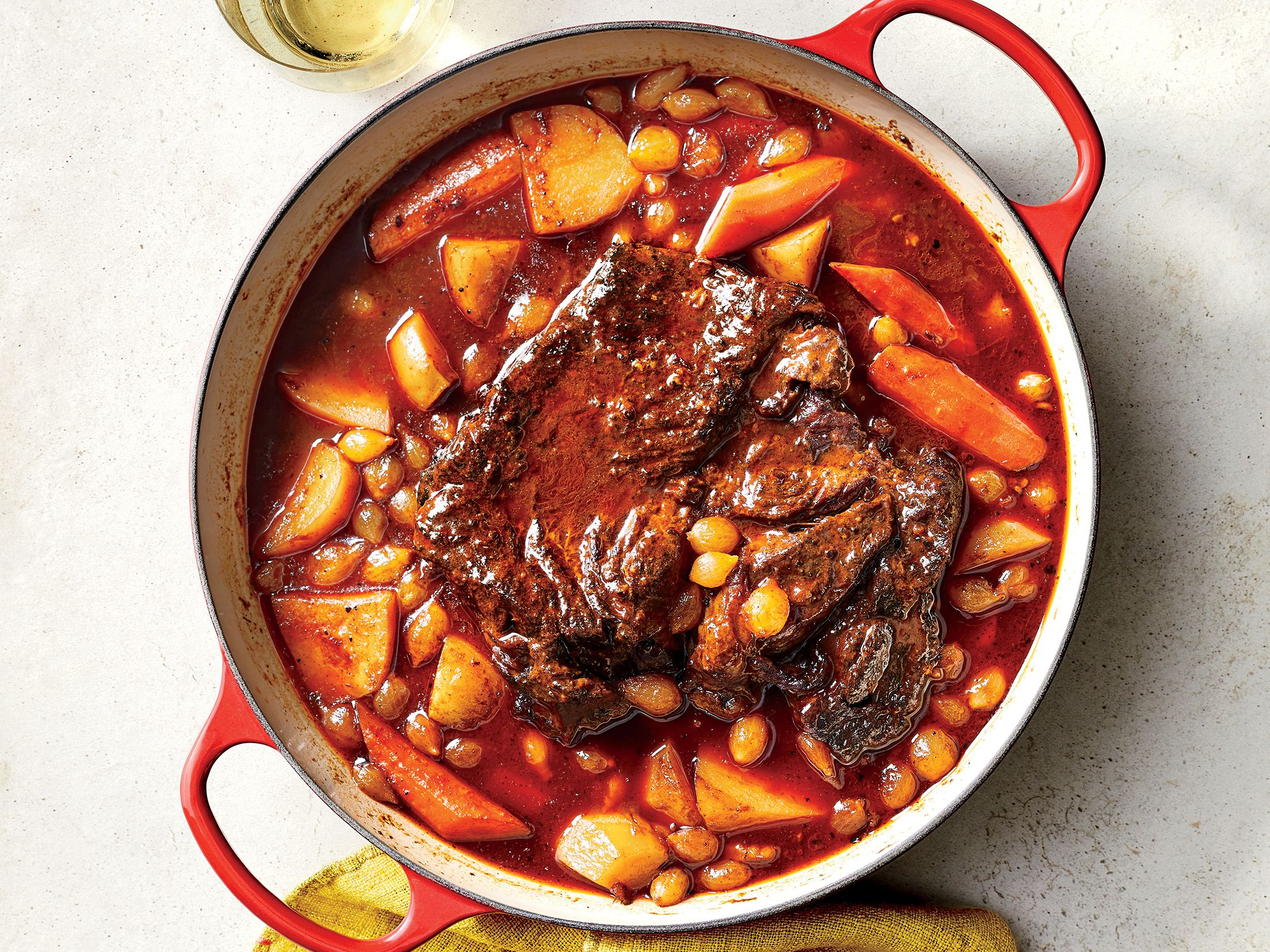 Big Batch Oven Braised Pot Roast Make This Meal On A Sunday And You Ll Have Three Dinners Taken Care Of Th Pot Roast Recipes Cooking Light Recipes Pot Roast