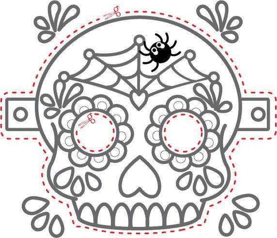Image result for paper fold dia de los muertos skulls for Day of the dead skull mask template