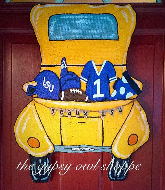 Football Sport Truck Burlap Door Hanger By Gypsyowlshoppe