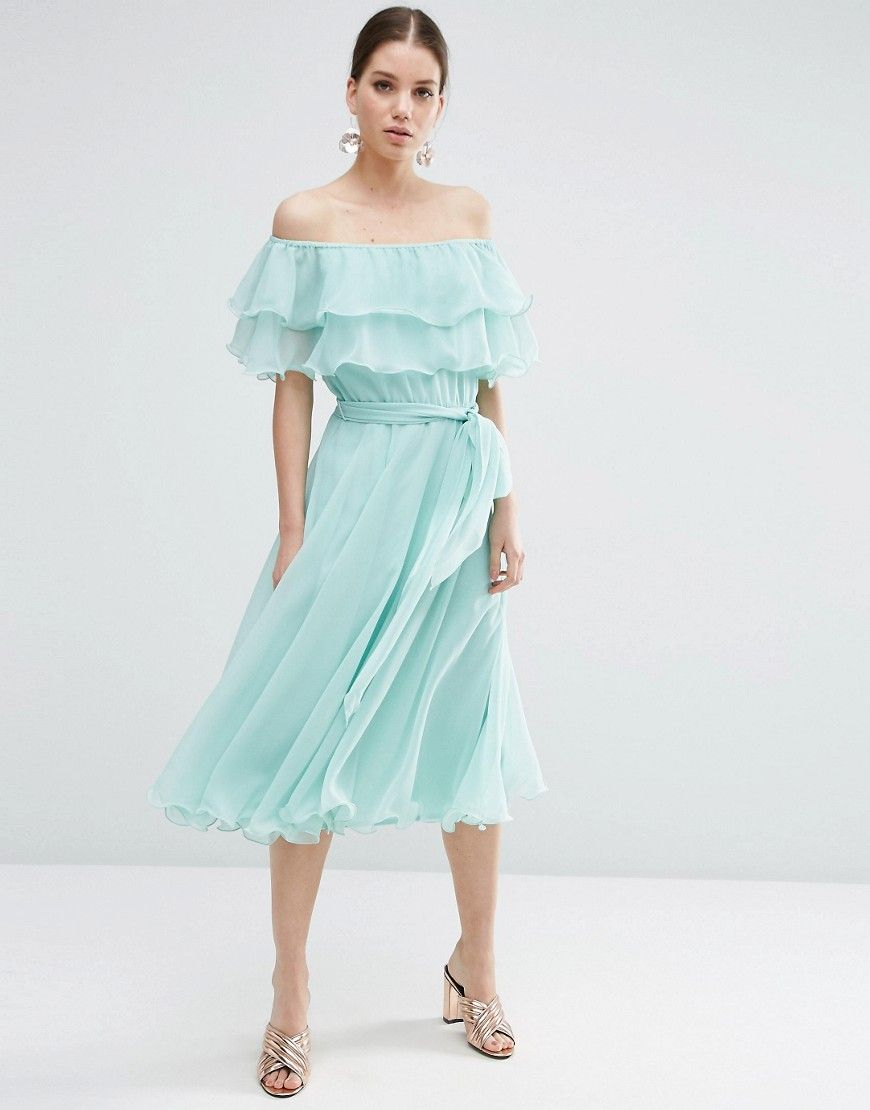 Image 1 of ASOS Bardot Off The Shoulder Multi Ruffle Midi Prom ...