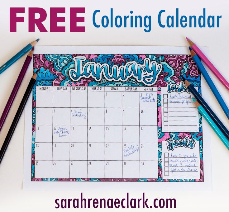 2018 Coloring Calendar | Colored pencils, Free printables and Free ...
