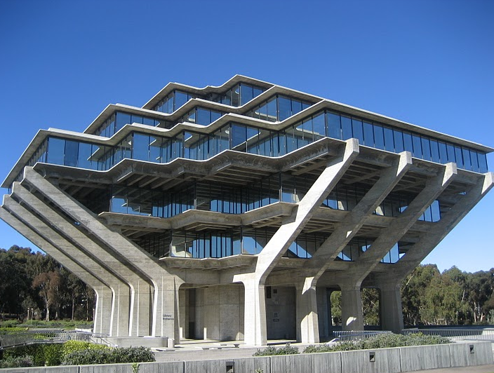 geisel library at university of california san diego or giant alien robot brain with books in. Black Bedroom Furniture Sets. Home Design Ideas
