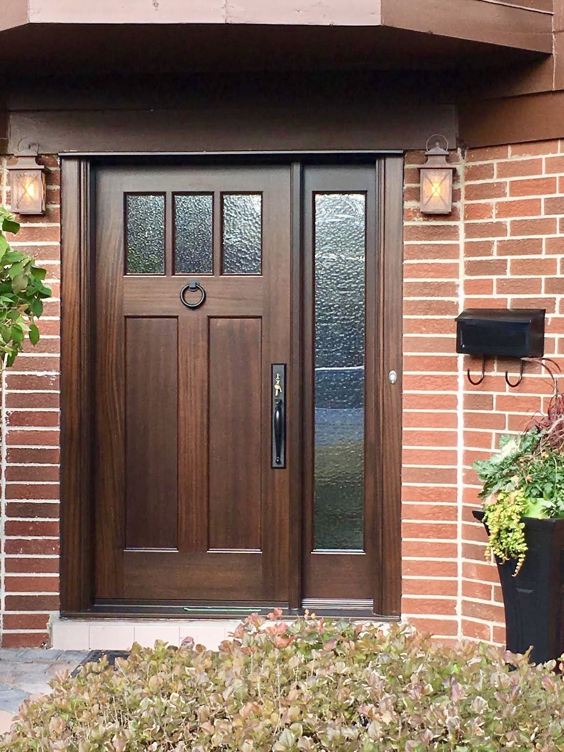Handsome Handmade Custommade Solid Mahogany Amberwooddoor With Cathedral Glass Craftsman Style Front Doors Craftsman Front Doors Wooden Front Door Design