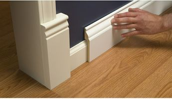 Install Wide Baseboard Molding Over Existing Narrow Baseboard - A Stroll Thru Life | Baseboard Styles, Baseboards, Home Diy