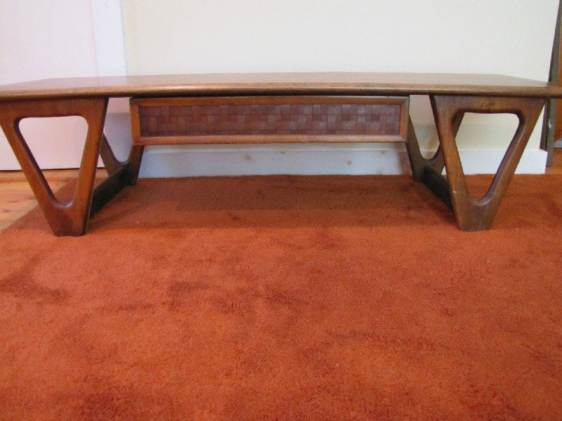 Lane Perception Coffee Table Mid Century With Drawer Basket Weave Retro Triangle Legs By Capecodmodern On Etsy