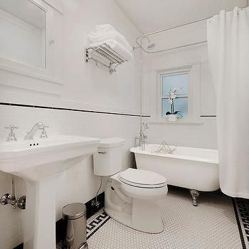 White hex bathroom floor tiles with black greek key border White border tiles bathrooms