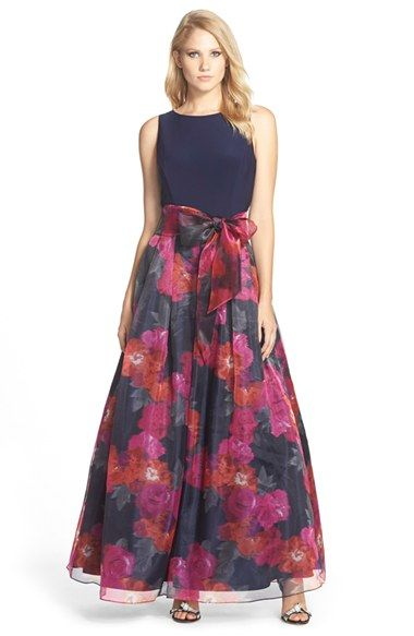 Women S Eliza J Jersey Amp Floral Print Organza Skirt Gown