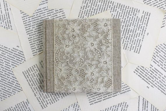 Hardcover journal / notebook in natural linen, finished with wide vintage floral lace  This is a one of a kind book I made for you, or for that special person you know would love to have it. Mass produced hardcover books are often difficult to write in because of an overly stiff spine that tries to shut you out every time you approach a page with pen in hand. Luckily, handmade books are much more user-friendly, as well as beautiful - they make jotting down thoughts a pleasure…