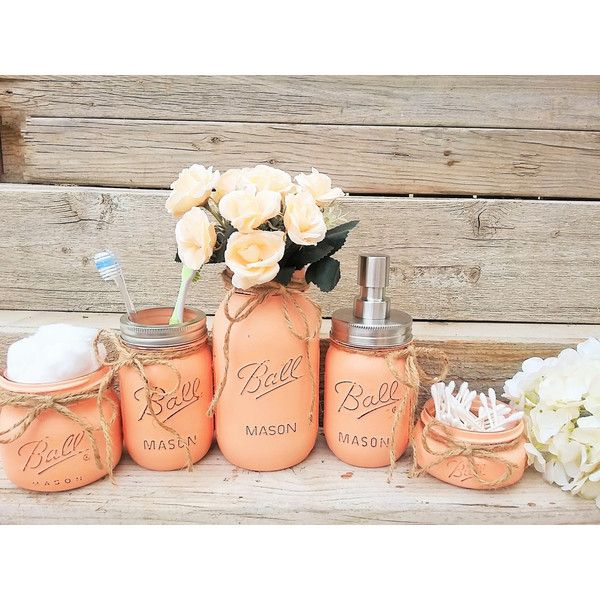 Mason Jar Bathroom Decor Peach Set Painted 37