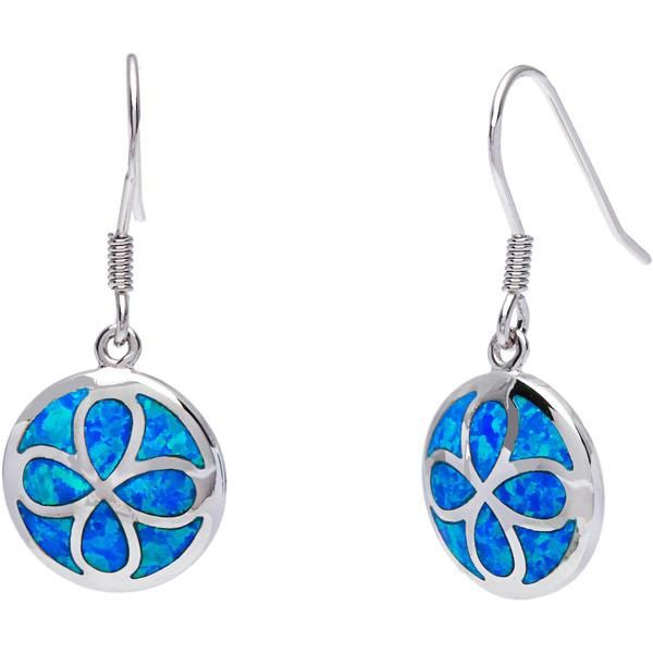 Round Inlay Opal with Flower Design Earrings in 925 Sterling Silver by…