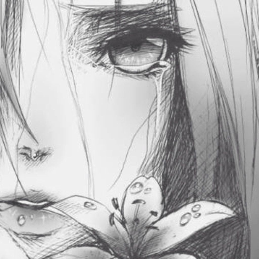 Sketsa Anime Sad Pencil Sketch