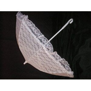 e70a1df3cd18 Plain Bridal Shower Wedding White Lace Umbrella Parasol 32