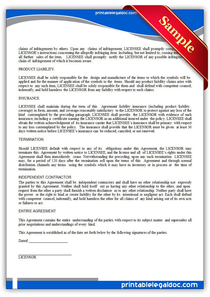 Printable Trademark License Agreement Template Printable Legal