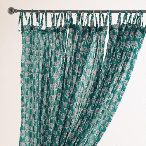 Aqua Medallion Crinkle Voile Curtains, Set Of 2