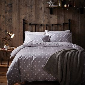 3c0096e0aff6 Star Grey 100% Brushed Cotton Reversible Duvet Cover and Pillowcase Set