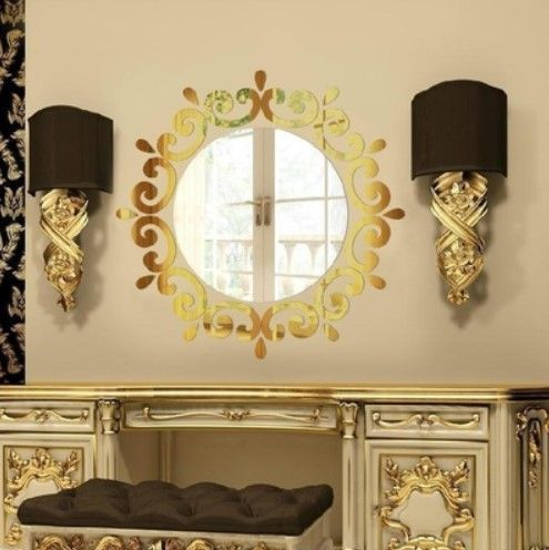 The three-dimensional crystal lighting mirror wallpaper in the ...