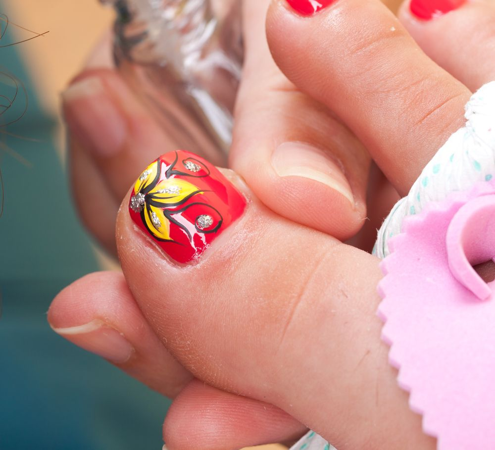 Red And Yellow Flower Nail Art Pedicure Nails Pinterest Flower
