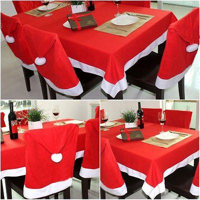 Christmas Dinner Decor Table Cover Xmas Tablecloth Santa Hat Chair Back