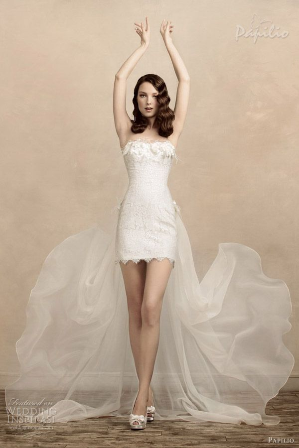 1000  images about Short dress with train on Pinterest  Lace ...