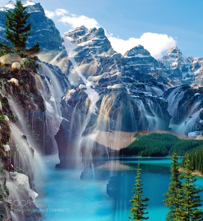 Mountain Exposure Mountain Waterfall Landscape Double Exposure Waterfall Landscape Mountain Waterfall Landscape