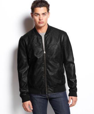 Levi's Faux-Leather Varsity Bomber Jacket